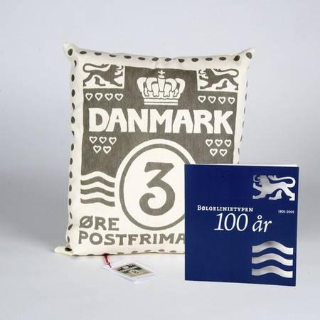 特别装 波浪线百年纪念和1个设计师手工制作珍藏家装靠枕  灰色 配 3丹麦便士邮票