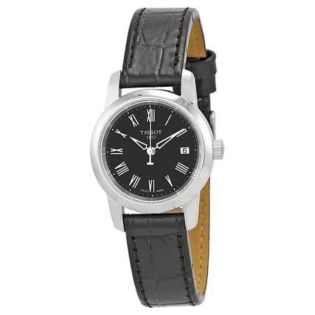 Tissot 经典女士手表 黑色表带