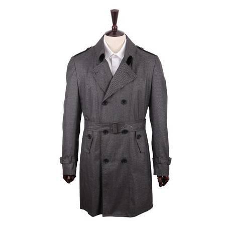 萨托尼 专柜正品 新款男装 商务休闲  风衣 黑灰色 19027014