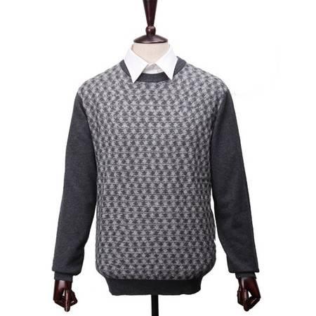萨托尼 专柜正品 商务休闲 圆领毛衣 黑灰色 07113014