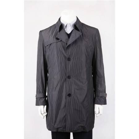 萨托尼 专柜正品 新款男装 商务休闲 风衣 黑格子 19024081