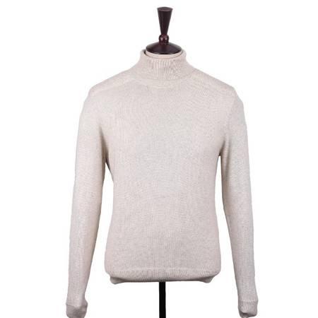萨托尼专柜正品 新款男装 商务休闲 半高领蚕丝羊绒线衫 米色070880