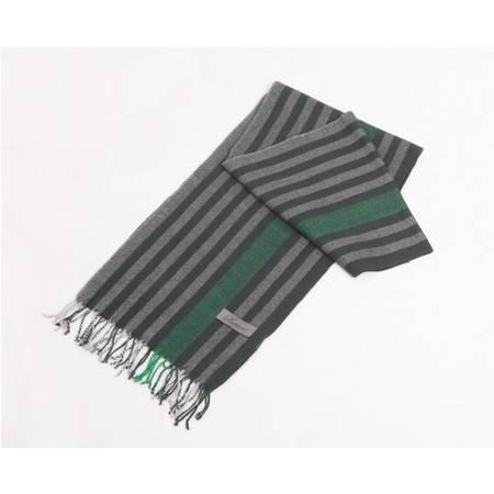 萨托尼专柜正品 特价男士秋冬羊毛围巾 商务休闲黑灰绿条纹 18119008