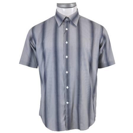 萨托尼 sartore 男士 商务 特价 休闲 短袖衬衫 蓝条纹 11111187