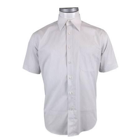 萨托尼正品男士时尚商务休闲夏季白底灰条短袖衬衫11089130