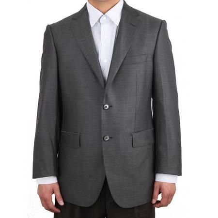 萨托尼 正品 男装  商务正装 西服上衣 羊毛桑蚕丝 黑灰 03100014