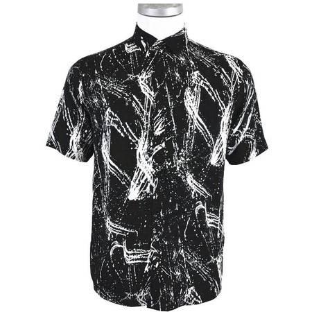 萨托尼 sartore 男士 商务 特价 休闲 短袖衬衫 黑色 11145113