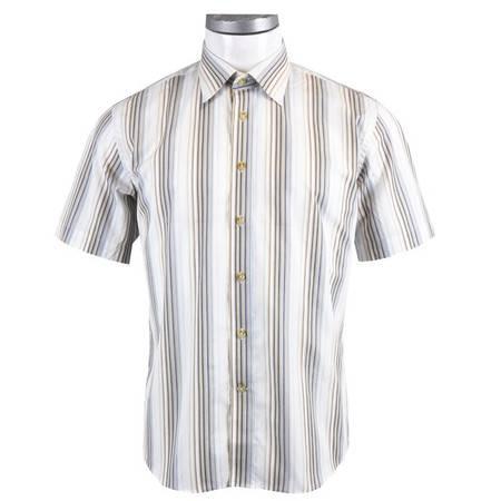 萨托尼 sartore 男士 商务 特价 休闲 短袖衬衫 咖啡条 11055161