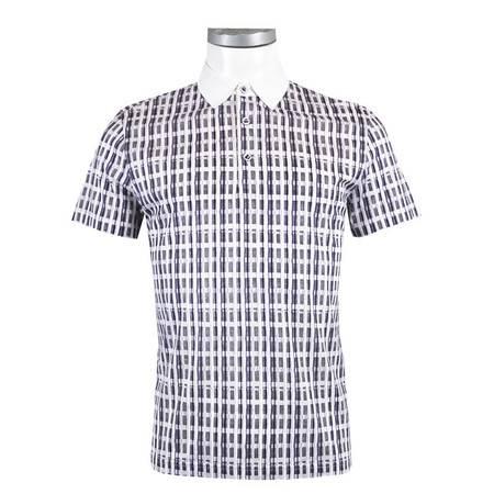 萨托尼 sartore 男士 商务 特价 休闲 短袖T恤 紫黑格 12228179