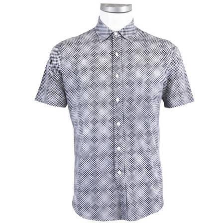 萨托尼sartore男士商务休闲短袖衬衫白底黑格 11143164