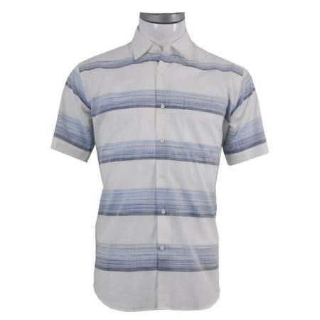 萨托尼 sartore 男士 商务 特价 休闲 短袖衬衫 蓝白 11079153