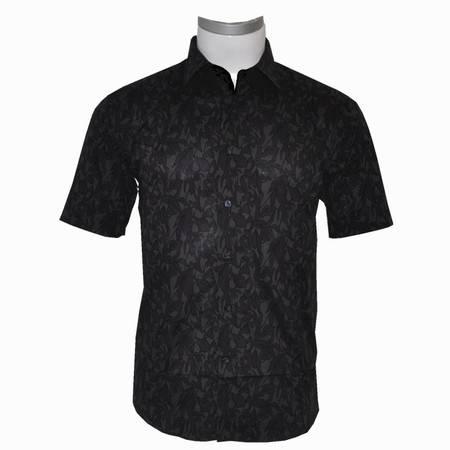 萨托尼男士商务特价休闲短袖衬衫黑色11073136