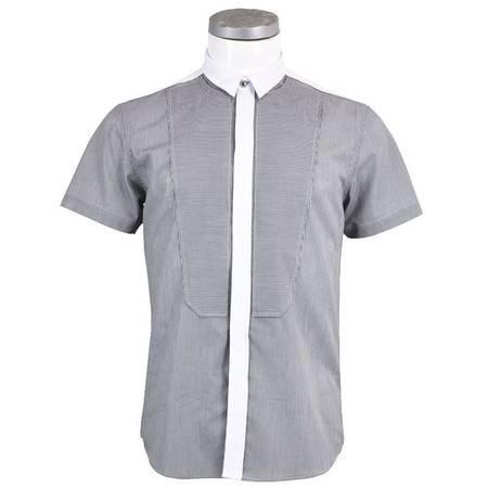 萨托尼 sartore 男士 商务 特价 休闲 短袖衬衫 黑条 11178188