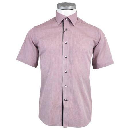 萨托尼 sartore 男士 商务 特价 休闲 短袖衬衫 酒红 11179151