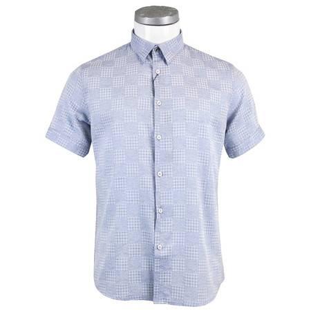 萨托尼 sartore 男士 商务 特价 休闲 短袖衬衫 浅蓝 11180117