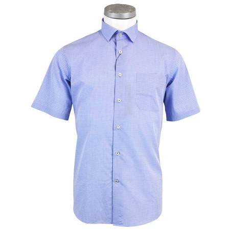 萨托尼 sartore 男士 商务 棉加桑蚕丝  短袖衬衫 细格 11171144