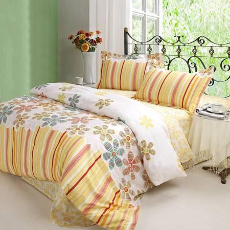 优然之家家纺URAN 全棉斜纹环保四件套床上用品-庄园芳菲1.5米床