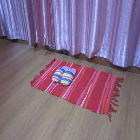 URAN 优然之家 时尚多彩复古布条地毯 50*80(红色直条)