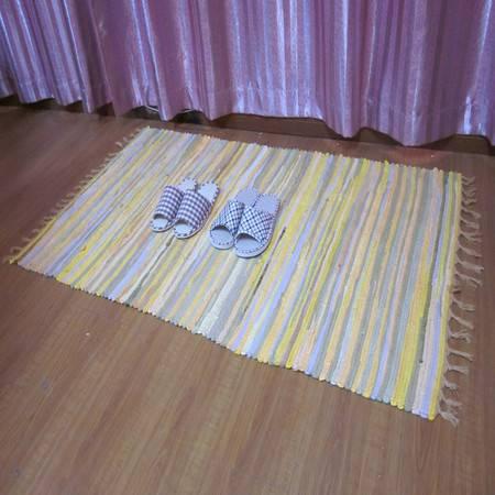 URAN 优然之家 时尚多彩复古布条地毯 90*150cm(黄色直条)