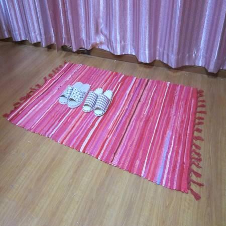 URAN 优然之家 时尚多彩复古布条地毯 90*150cm(红色直条)