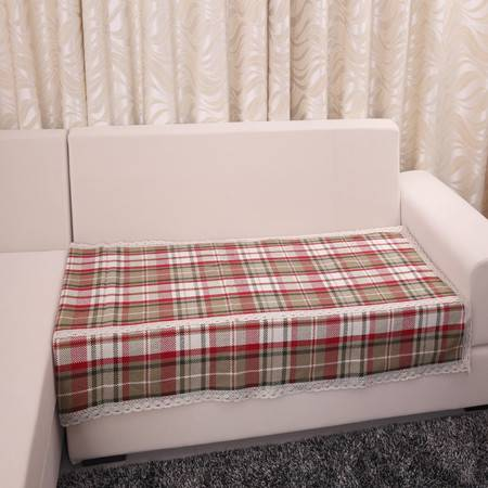URAN 优然之家 红大格 棉麻沙发垫 90*180cm