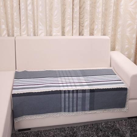 URAN 优然之家 灰大格 棉麻沙发垫 90*90cm