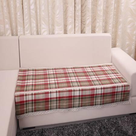 URAN 优然之家 红大格 棉麻沙发垫 90*210cm