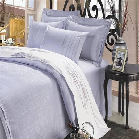 Lionsuz蓝丝 布之纹  精致提绣床品四件套1.5m