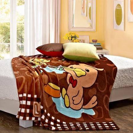 蓝丝Lionsuz 可爱小鸭 法兰绒加厚卡通休闲盖毯