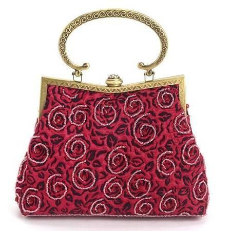 伊法兰妮小玫瑰铁架红色拎包B003044