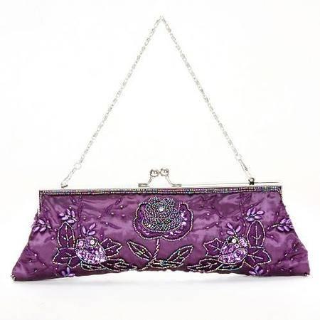 伊法兰妮紫色花开珠绣晚宴包B003038
