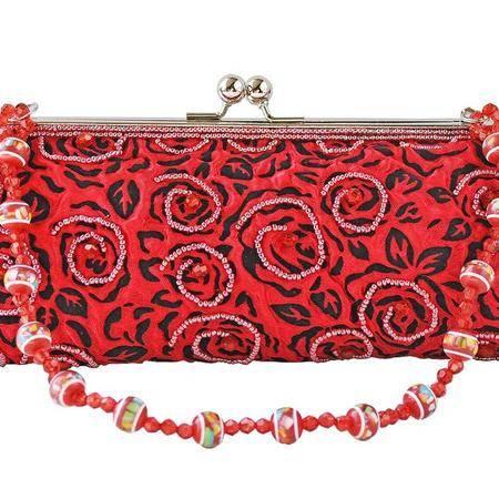 伊法兰妮工艺珠绣晚妆婚宴精品红色女包B002040
