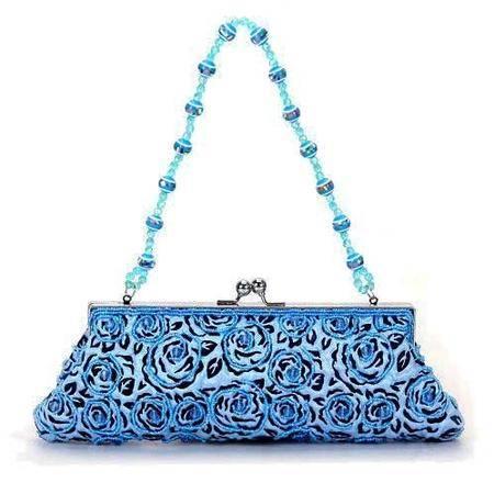 伊法兰妮工艺珠绣晚妆婚宴精品蓝色女包B001543