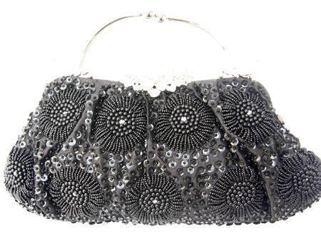 伊.法兰妮向日葵花朵黑色珠绣包B003000