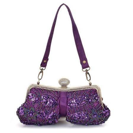 伊.法兰妮紫色中帘绣花包B002723