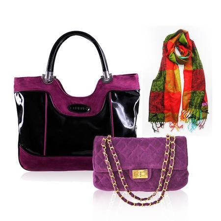 伊法兰妮冬季款时尚炫紫系列女包三件组(单肩包+金链+彩格围巾)