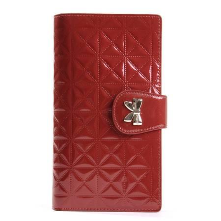 金狐狸女士牛皮钱包长款韩版夹皮女士票夹漆皮格纹钱包