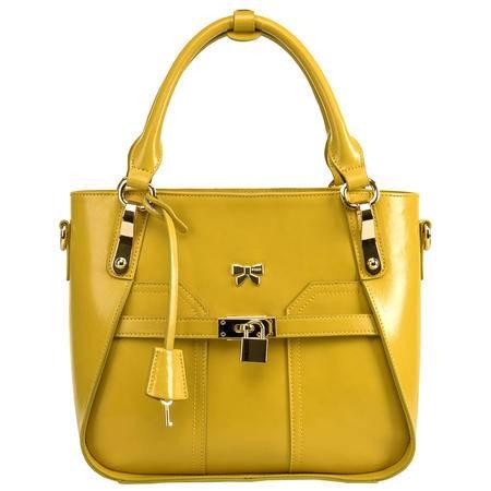 金狐狸正品 款欧美时尚锁扣女包 欧美牛皮通勤手提包斜挎包