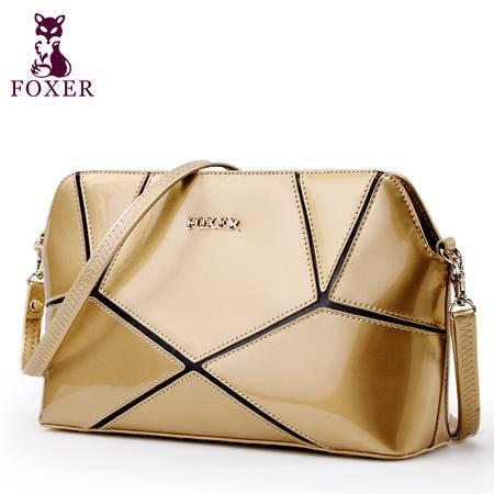 金狐狸 潮流时尚几何拼接女包欧美牛皮新品珠光漆皮单肩斜跨包小包包