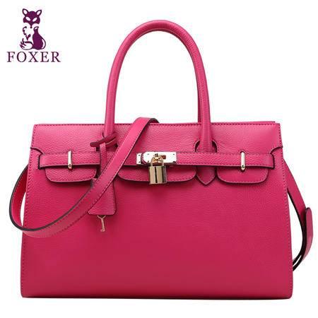 金狐狸正品 真皮女包时尚头层牛皮手提包斜跨包新款包包潮流女士包锁扣包
