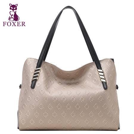 金狐狸女士包包2015新款牛皮单肩包时尚潮流女包撞色手提包女大包