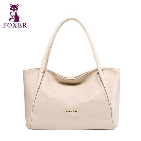 金狐狸新款欧美头层奢华牛皮荔枝纹通勤包时尚单肩包手提女士包包