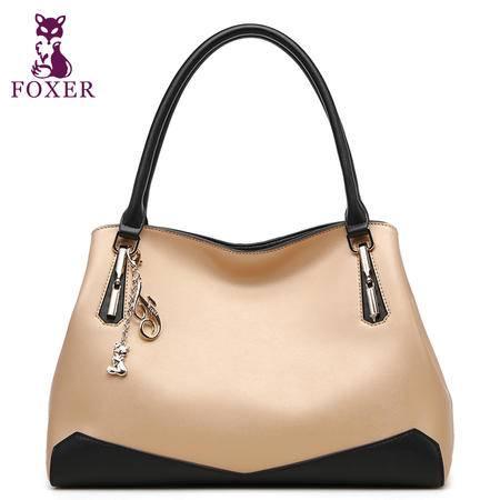 金狐狸新款时尚牛皮单肩手提通勤女包欧美潮流纳帕纹撞色女士包包