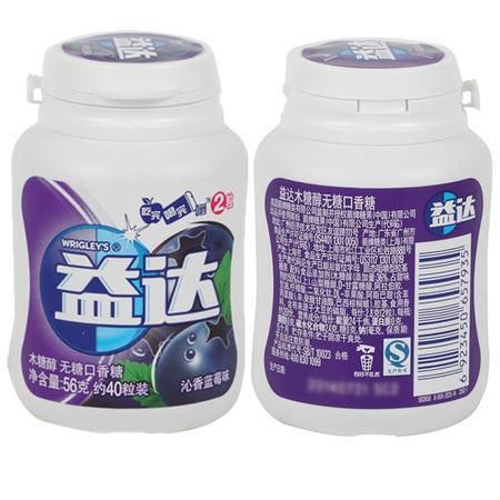 益达木糖醇沁香蓝莓40粒瓶装*6
