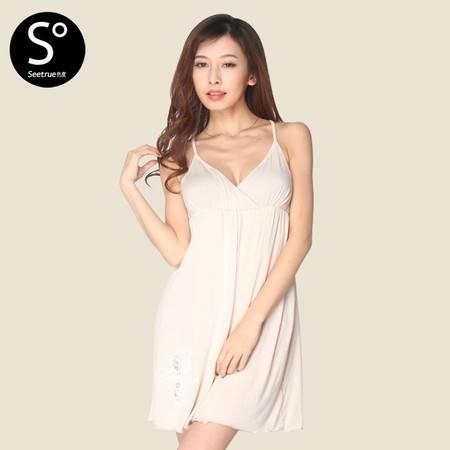 色度 女式深V领短睡裙 4226012