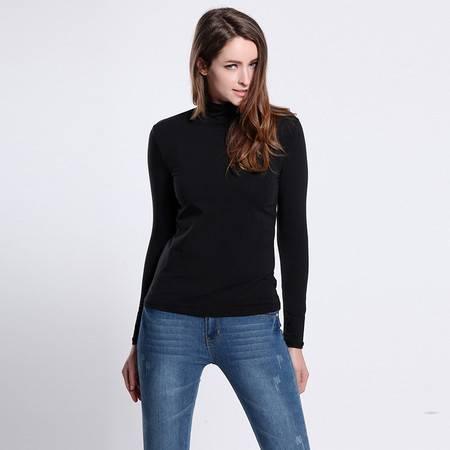 色度 正品专卖 女式高领素色长袖T恤  3215011