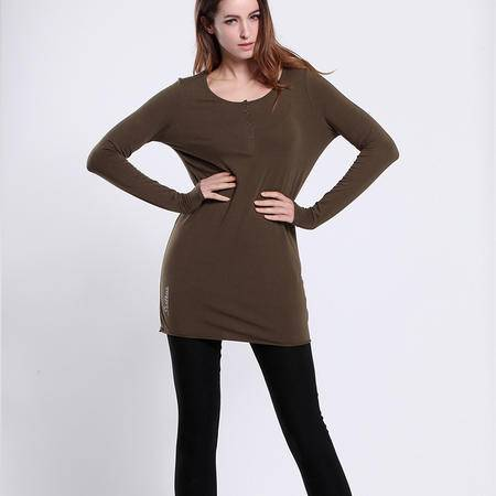 色度 正品专卖 女式局部印花半开襟长款T恤 4227035