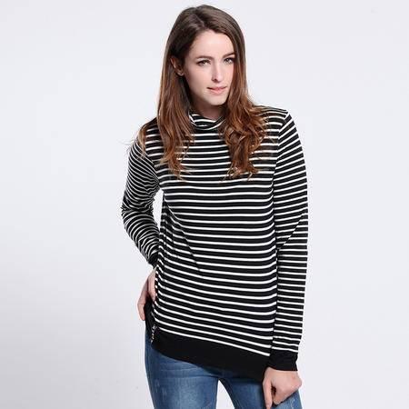 色度 正品专卖 女式色织细条高领T恤 4227021