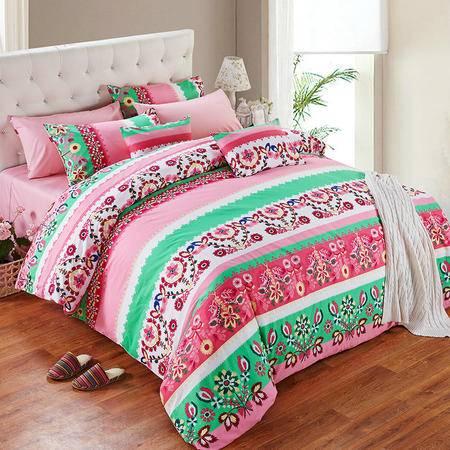 Cozzy蔻姿家纺 全棉斜纹印花四件套纯棉床上用品套件 菲奥娜 1.8米