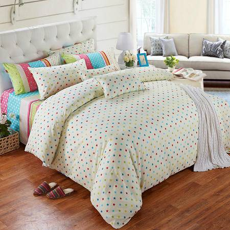 Cozzy蔻姿家纺 全棉斜纹印花四件套纯棉床上用品套件 艾薇甜心 1.5米